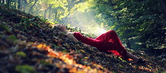 fall in my soul (follow*light) Tags: fallinmysoul girl forest leaves autumn dress red