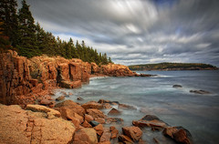 Thunder Hole (ROPhoto77) Tags: autumn clouds cloudy atlantic longexposure maine rocks rocky texture trees walldecor acadia national park bold colorful motion movement blue green warm bigstopper outdoor sea water shore landscape rockformation