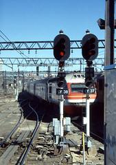 XPT Train leaving Sydney in 1990 without me! (Stefan Fisher) Tags: railway scanned downunder australia minoltaxd7 kodakektachrome sydney countrylink nsw newsouthwales oz outdoor railroad