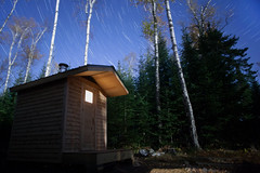 New Sauna (Sam Wagner Photography) Tags: sauna cabin nature star trails long stacked night exposure light trees woods forest autumn