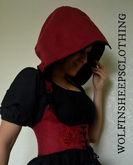 Red Riding Hood Under Bust Corset (margaretdaniero) Tags: bustier corset cincherwaistcincher red suedecloth sewing steampunk steelboned sacramento satinribbon etsy embroidered embroidery costume clothes womens hoodie