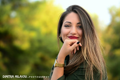 a smile is... (dimitra_milaiou) Tags: portrait maria color greece colour life smile face woman girl red green day lovely love live world europe milaiou dimitra forest tree light nikon d d7100 7100 70210mm look long hair beautifu beauty nice shot photography photo young happy happiness joy stafyla greek     hellas model female  pure athens park city blue eyes walking ngc