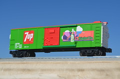 """1970's """"Right Un"""" (Right On) 7Up UnCola """"O"""" Gauge (1/48) model railroad box car, illustrator unknown #7Upvintage (btreat) Tags: 1971 7up uncola 7upvintage retro vintage billboard vintagebillboard oscale modelrailroad mhttrains boxcar rightun ogauge freighttrain train vehicle sunrise righton"""