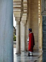standing guard (SM Tham) Tags: africa morocco rabat mohammedvmausoleum mausoleum tomb grave building colonnade stonecarvings marble guard soldier musket gun cloak headgear columns capitals uniform