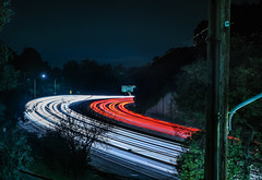 104th street exit (pbo31) Tags: california bayarea nikon d810 color november 2016 fall boury pbo31 lightstream traffic roadway motion highway 580 sequoyah oakland over red curve bend black night lowlight eastbay alamedacounty eastoakland oakknoll
