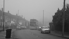 I mist again: Princethorpe Way, Coventry (paulburr73) Tags: fog foggy misty dirty cold weather mist winter binley coventry transbus princethorpeway ernesfordgrange hillclimb bus nxc nationalexpress volvo b7tl alx400 2016 december greyday