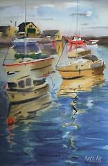 Moonlight Dreamer (katekos) Tags: moonlight painting boast watercolor watercolour water courtown harbour boat reflections art akwarela katekos