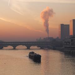 La pniche * (Titole) Tags: paris sunrise pniche titole nicolefaton barge squareformat smoke bridge buildings seine galway bfm bnf