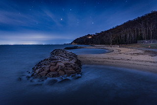 Stars over the Potomac river in Westmoreland State Park, Virginia