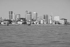 Docklands Skyline (D_Alexander) Tags: uk england london eastlondon docklands isleofdogs riverthames skyline skyscrapers blackandwhitephotography