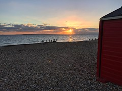 Beach Hut Sunset (Marc Sayce) Tags: hayling island hampshire sunset clouds beach sundown huts groyne