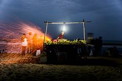 Marina Evenings #1 (Mahendiran Manickam) Tags: india beach marina evening corn colorful dusk madras roast flame vendor chennai tamilnadu mahemanickphotography