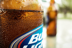 Cold Bud Light (guido1515) Tags: light brown water beer outdoors droplets bottle drink bokeh sony alabama bbq alcohol barbecue sweat pointandshoot bud budweiser busch rx100m2