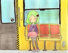 subway (nogabito) Tags: girl illustration watercolor subway metro drawing dibujo ilustracin  acualera