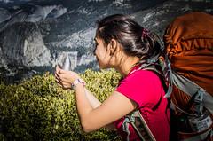 Collecting Water! (chasing_adventure29) Tags: california orange waterfall perception nevada perspective falls sierra illusion talon yosemite sierranevada osprey nevadafalls ospreybackpack orangebackpack chasemueller ospreytalon