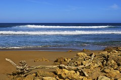 Bells Beach Victoria Australia. (maginoz1) Tags: ocean seascape water canon landscape spring driftwood serene bellsbeach g3x october2015 volcanicrockface