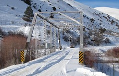 Snowy December Bridge.  Montana (montanatom1950) Tags: montana tracks bridges trains helena bnsf creeks railroads helenamontana littlepricklypearcreak