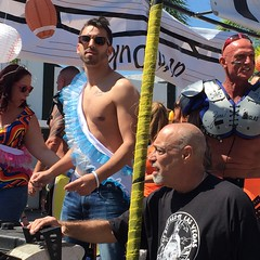 Man with frilly blue sash (LarryJay99 ) Tags: street gay shirtless people urban man male men guy face sunglasses beard goatee glasses nipples arms florida candid profile smiles bubbles guys tattoos dude belly jeans facialhair gaypride bluejeans dudes blackmale hunks studs photostream spacemen hairychest baldhead handsomemen 501s lakeworth treasuretrail hairyarms virile iphone6 peekingpits ilobsterit iphone6plusbackcamera415mmf22