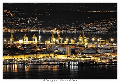 trieste by night (Giorgio Serodine) Tags: italia mare case slovenia di luci navi riflessi montagna notte molo trieste golfo citta friuli gru palazzi fari