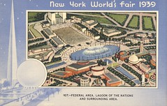 Federal Area, Lagoon of the Nations and Surrounding Area - New York World's Fair 1939 (The Cardboard America Archives) Tags: newyork vintage postcard 1939 worldsfair