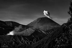 Chimneys of the Earth (Collin Key) Tags: bw cloud mountains indonesia landscape volcano java peaks idn mountbromo seaofsand mountsemeru tenggercaldera