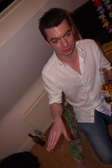Sara and Kristen's party (Gary Kinsman) Tags: panasoniclumixgf3 lumixg14mmf25 london hernehill party houseparty addias jacket se24 candid unposed fancydress 2012 flash