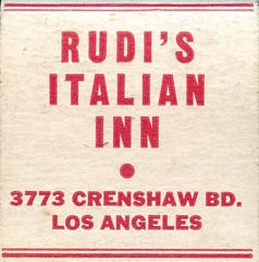 Rudi's Italian Inn (jericl cat) Tags: matches matchbook match illustration vintage losangeles paper ephemera restaurant dining cocktail