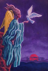 As the sun sets (ReevesDavid) Tags: oil painting alkyd angel dove dreamscape dream