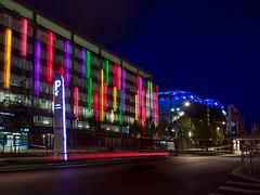 Lyon - Parking des Confluences. (Gilles Daligand) Tags: lyon rhone parking centrecommercial confluence mur couleurs lumire nuit night architecture batiment complexecommercial