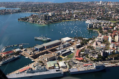 Sydney By Helicopter/Fleet Base East (NTG's pictures) Tags: robinson r44 blue sky helicopters sydney nsw australia other ships ran hmas canberra l02 choules l100 tobruk l 50 darwin ffg04