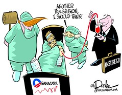 1016 second opinion cartoon (DSL art and photos) Tags: editorialcartoon donlee donaldtrump hillaryclinton obamacare healthinsurance blood transfusion hospital healthcarereform