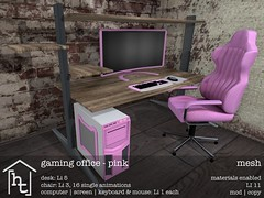 [ht:home] gaming office - pink (Corvus Szpiegel) Tags: hate this hatethis ht home original mesh material materials enabled diffuse texture normal specular map geeksnnerds geek nerd office desk chair gaming computer monitor screen pc keyboard mouse black white pink wood leather metal steel widescreen furniture decoration decor deco sl second life secondlife
