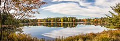 Hamilton pond panoramic view (hjuengst) Tags: usa maine barharbor lake hamiltonpond autumn colorful reflection clouds panorama indiansummer