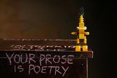 Your Prose is Poetry (Studio d'Xavier) Tags: yourproseispoetry toy yellow alien robot stilllife strobist