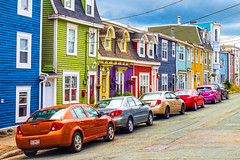 Jelly bean houses with their candy coloured cars (-liyen-) Tags: cars houses city stjohns newfoundland colourful colorful multicolored rowhouses manycolours rainbowcolored urban parkedcars vibrant bright daylight maritimes eastcoast canada summer fujixt1 challengeyouwinner cyunanimous