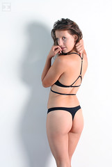 VexV-7648-100 (artistbyday) Tags: vexvoir model pinup sexy girl pose skimpy cute curves butt lookingback backside swimsuit straps minimal portrait contrast brunette