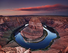Horse Shoe Bend (Dmitry P.) Tags: america arizona beautiful bend canyon clouds colorado curve dawn dawning daybreak desert destination horse horseshoe landmark landscape meander morning nature outdoors outlook overlook page panorama ravine red river rocks scenery scenic shoe sky south southwest sunrise tourism travel usa utah view water wilderness