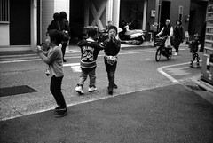 (little barkers) (Dinasty_Oomae) Tags: lomo  smena8m 8m  blackandwhite bw monochrome outdoor   tokyo street  setagaya  shoinshrineavenue   festival  children