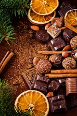 Christmas sweets (Arx0nt.) Tags: food christmas newyear happy sweets sweet sugar chocolate candy truffle cinnamon orange brown nut coffee hazelnut almond assortment stilllife vertical cocoa dried fir tree holiday spirit december celebration beautiful warm color