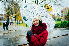Walking in the rain (Draen Kosijer) Tags: portrait woman umbrela rainyday autumn fall