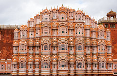 Hawa Mahal palace (Palace of the Winds) in Jaipur (phuong.sg@gmail.com) Tags: adventure architecture asia asian attraction beautiful blue building city clouds colorful concepts culture destination dome exotic facade famous hawa hindi historic india indian jaipur journey landmark mahal mughal north old palace pink rajasthan red sights sightseeing tourism tourist town traditional travel trip vacation voyage winds wonder world