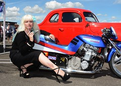 Sharon_7471 (Fast an' Bulbous) Tags: long blonde hair girl woman hot sexy chick babe mature peroxide dress car bike motorcycle hotrod custom vehicle automobile stockings high heels stilettos shoes suzuki pinup model pose hotty rockabilly nikon d7100 gimp outdoor