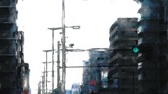 Grey town 9 (Bamboo Barnes - Artist.Com) Tags: osaka japan greytown street building light shadow blue grey green red photo painting digitalart bamboobarnes landscape trafficlight monochrome
