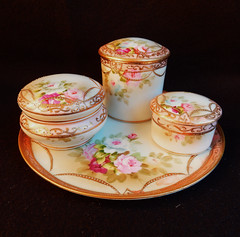 Nippon Porcelain Hand Painted Dresser Set Trinket Boxes Tray Roses Gold (Donna's Collectables) Tags: nippon porcelain hand painted trinket tray roses gold thanksgiving christmas