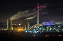 Blick von der Halde Hoheward Kraftwerk Herne (ulrichcziollek) Tags: ruhrgebiet herten hoheward halde recklinghausen sonnenaufgang nachtaufnahme wow