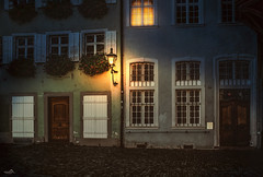 """The """"Haus zur Roten Schr"""" (VandenBerge Photography) Tags: freiburgimbreisgau germany historical ancienttown building houses night lights europe cityscape windows streetscene canon city oldtown atmosphere badenwrttemberg"""