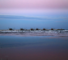 Venus' belt (Robyn Hooz) Tags: venus venere cintura sottomarina diga reflection riflesso blue violet purple acqua mirror specchio chioggia sabbia sand