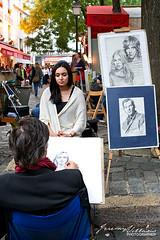 Portrait Artist in Montmartre (jeremyvillasis) Tags: street travel portrait people woman man paris france art work artist drawing streetphotography montmartre business job