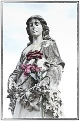 High Key Madonna (Joseph Austin) Tags: cemetery graveyard statue madonna highkey joachim redflowers floweres stjoachim highkeylighting stjoachimcemetery twincemeteries