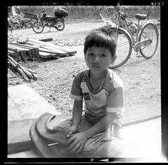 Child, North Vietnam (Dom_Walker) Tags: camera bw white black film kodak box north vietnam walker brownie hp5 medium format ilford dominic